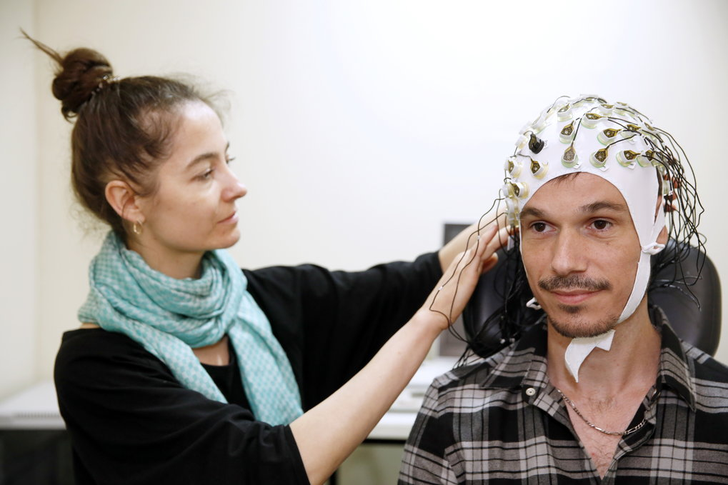 Eelectroencephalography (EEG) measures the electrical activity of clusters of nerve cells as reflected in changes in electric potential at various locations on the scalp. EEG scans are safe and non-invasive.