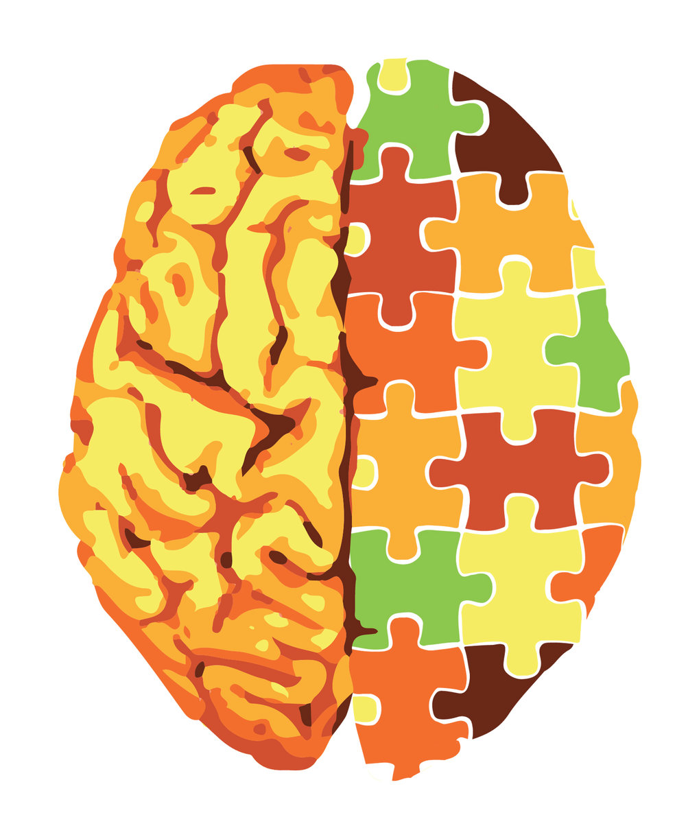 Symbolic image of a brain with a puzzle