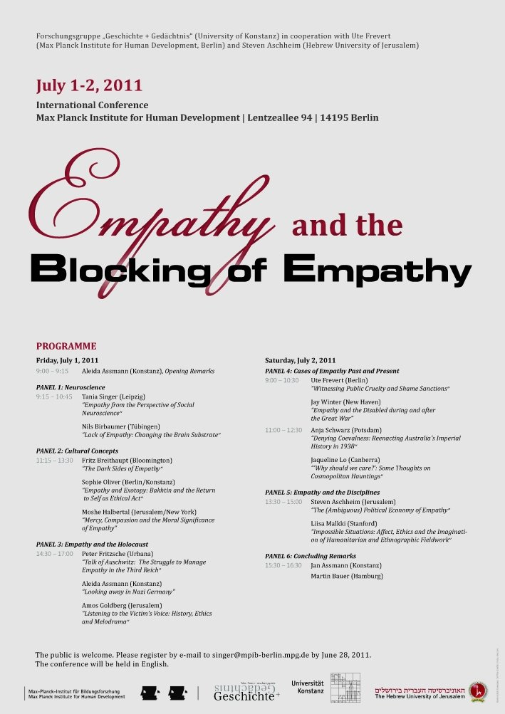 Empathy and the Blocking of Empathy<br />1.-2. Juli 2011